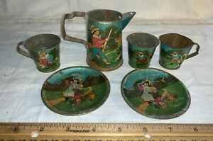 ANTIQUE 6 PIECE TIN LITHO TOY TEA SET POT 3 CUPS 2 SAUCERS VICTORIAN CHILDREN