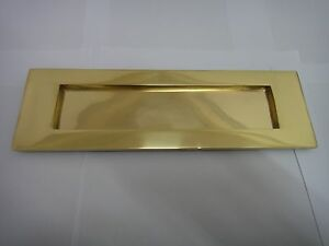 """VICTORIAN SPRUNG LETTER PLATE / LETTER BOX 10""""x3"""" IN POLISHED BRASS FINISH (TP)"""