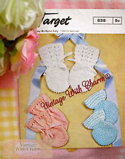 Vintage 1960s Baby's Mitts Knitting Pattern , 3 Styles. JUST 1.79p!