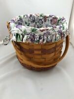 Longaberger 1996 Sweet Pea Basket with Liner and Protector Movable Handle