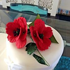 CAKE TOPPER , TWO HAND MADE SUGAR GIANT POPPY SPRAY  IN RED . A  CHOICE