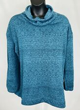 Columbia Womens Cowl Neck Pullover Size 3X Blue Green Warm