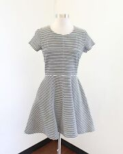 Kate Spade Saturday Black White Striped Fit and Flare Dress Size S Short Sleeve
