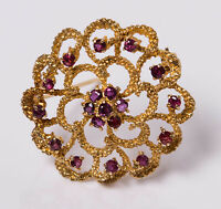 Vintage C1980s 9ct Yellow Gold & Natural Ruby Flower Brooch