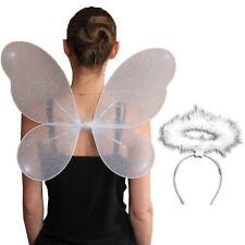 Ladies Large 50x 40cm Net Fairy Shiny Wings Fancy Dress Costume White Angel Halo