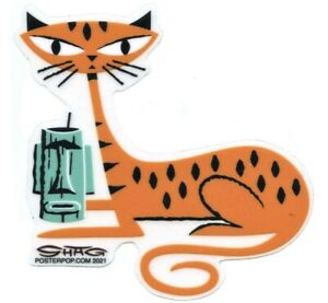 Tiger Cat Tiki Drink STICKER Decal Shag Josh Agle SH123