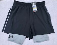 Under Armour Mens Mirage HeatGear 2-in-1 Gym Training Shorts Medium Black BNWT