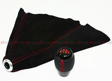 FITS MAZDASPEED 3 6 RX8 6 SPEED SHIFTER KNOB+ SUEDE SHIFT BOOT W/ RED STITCHING