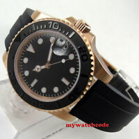 40mm Bliger black dial sapphire crystal date window rubber automatic mens watch
