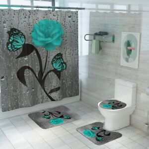 Curtain Shower Set Waterproof Fabric With Hooks Bathroom Bath Toilet Cover Mat