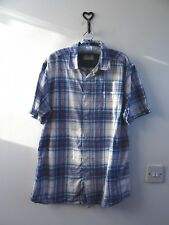 GEORGE mans checked linen/cotton short sleeved casual blue shirt size L