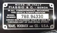 New Repop Sears Piaggio Vespa Scooter Model Number Plate Tag