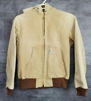 Carhartt Mens Brown full zip Denim Hooded bomber Jacket size L tan