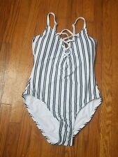 NWT Nautica Lace Up One Piece Swimsuit M  White Slimming Lined