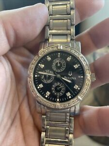 mens bulova gold diamond watch