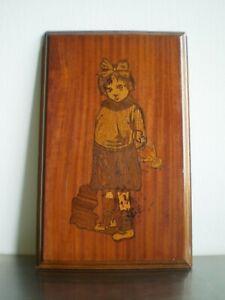Intarsien Holz Precious Kind Mädchen Mit die Puppe Antik Art Deco Mahagoni