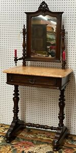 Antique Ship Captain Shaving Stand w/ Candle holders w/ Mirror Marble Top c1860