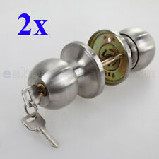 2X Stainless Steel Round Door Knob Handle Entrance Passage Lock W Key Set SILVER