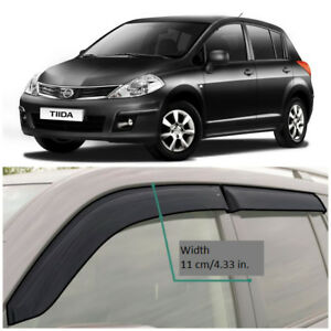NE11504 Window Visors Vent Wide Deflectors For Nissan Tiida Hb C11 2004-2014