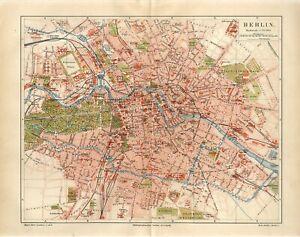 1887 GERMANY BERLIN CITY PLAN Antique Map