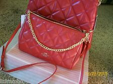 NWT COACH QUILTED LEATHER CARRIE CROSSBODY, F36682 CLASSIC RED- SHIPS FREE!