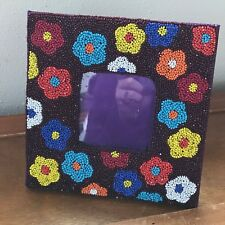 Estate Colorfully Beaded Daisy Flower Square Picture Frame with Opening of 2.75