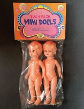 """Mint 1970s """"Twin Pack MINI DOLLS"""" with """"Sleeping Eyes""""... 11.5cm Tall"""