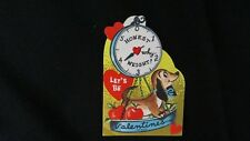 Vintage Dachshund & Scale Valentine Card c. 1950s unused