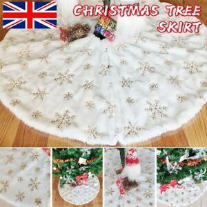 78/90/122CM CHRISTMAS TREE SKIRT BASE SNOWFLAKE FAUX FUR XMAS FLOOR MAT ORNAMENT