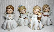 Vintage Porcelain Angels Figurines Gold Accent Singing Instrument Choir Book Set