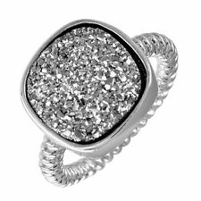 925 STERLING SILVER SQUARE DRUZY GEMSTONE RING /SZ 5,6,7,8,9, AVAILABE/ STUNNING