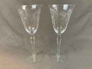 2 Vintage Depression Etched Floral Wine Pedestal Glasses Elegant Stemware 347