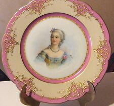 Sevres French porcelain antique painted w/raised gold cabinet plate WOW
