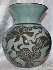 Heavily Decorated With Sgraffito By Jenny Browne-Stoneware Vase With Lillies(?)