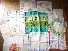 Lot of 12 Vintage Childs Handkerchiefs Hankie Nursery Rhyme rabbit elves disney