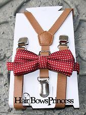 Set Kids Boys Brown PU Leather Suspenders  burgundy Christmas bow tie 6mon -5Y