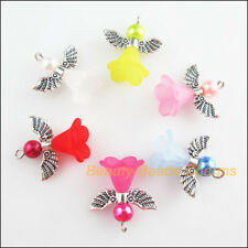 6Pcs Mixed Glass Acrylic Dancing Angel Wings Flowers Charms Pendants 22x23mm