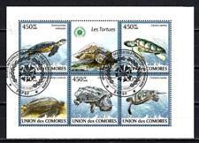 Animaux Tortues Comores (270) série complète de 5 timbres oblitérés en feuillet