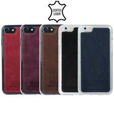 Für Apple iPhone - Silikon Case + echt Leder - Tasche Schutz Hülle Bumper Cover
