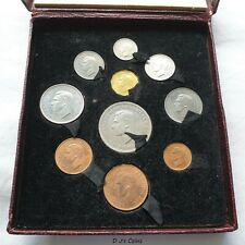 More details for 1951 festival of britain 10 coin proof set, crown to farthing in red box