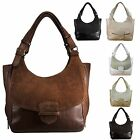 Leather Suede Handbag Bag Purse Brown Tote Satchel Black Shoulder Women Genuine