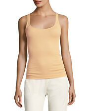 NEW VINCE Favorite Basic Ribbed Scoop Raw Layer Tank Top Shirt peachy nude L