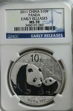 2011 China Panda S10Y Panda Silver, Early Release  NGC MS70 Coin