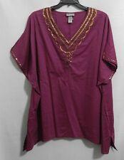 Catherine's Woman Plus 4X Bohemian Purple Gold Sequin Peasant Tunic Top NWOT