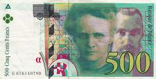BILLET BANQUE 500 Frs pierre et marie CURIE 1994 TTB 700