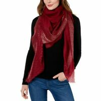 INC International Concepts oversized ombre metallic square women's scarf -RED