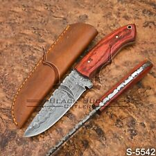 5542 | Black Buck's Damascus Steel Skinner/Hunter/Bush Craft knife | W/Sheath