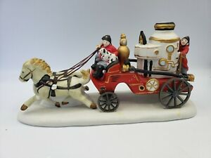 Vintage LEMAX Porcelain Off To The Fire Christmas Horses Christmas Village Scene