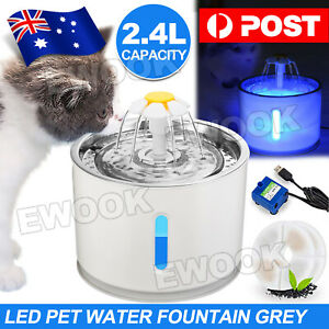 LED Automatic Electric Pet Water Fountain Cat/Dog Drinking Bowl Waterfall 2.4L