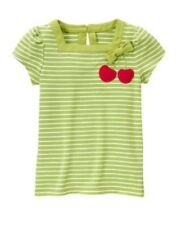 New Gymboree Cherry Cute green white stripe s/s shirt  girls 7